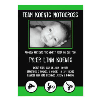 Motocross Dirt Bike Birth Announcement (Green)