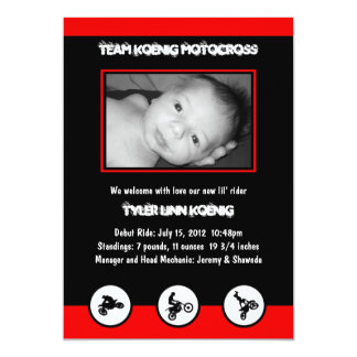 Motocross Dirt Bike Birth Announcement (Red/Black)