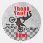 Motocross Dirt Bike Birthday Thank You Stickers
