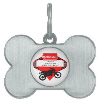 Motocross Dirt Bike Black Red Customize Logo Pet Tag