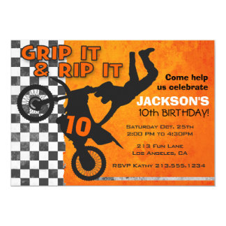 Motocross Dirt Bike Boys Birthday Party Orange Card
