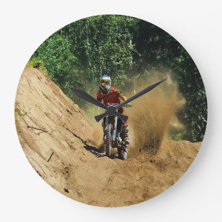 Motocross Dirt-Bike Champion Race Large Clock