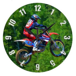 Motocross Dirt-Bike Champion Racer Large Clock