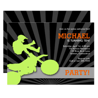 Motocross Dirtbike Invitation, Green and Orange Card
