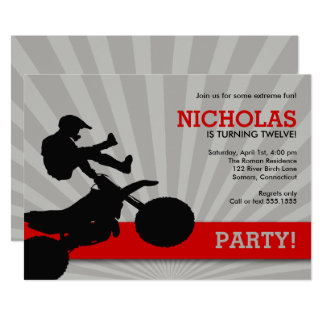 Motocross Dirtbike Invitation, Red and Black Card