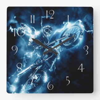 Motocross extreme sport square wall clock