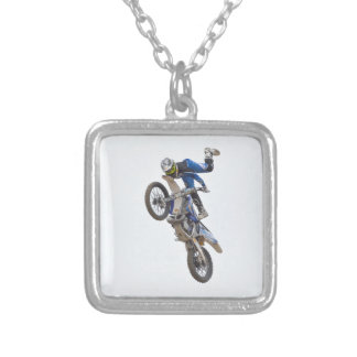 Motocross Extreme Tricks Silver Plated Necklace