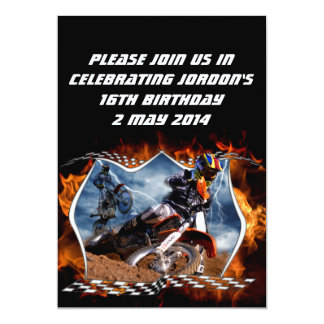 "Motocross fire and lightning. 5"" x 7"" invitation card"