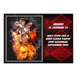 Motocross fire and metal checkered flag. card