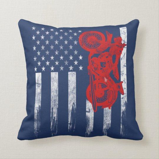 Motocross Flag Throw Pillow