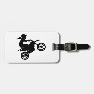Motocross girl woman luggage tag