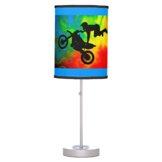 Motocross in a Solar Flareup ANY COLOR BACKGROUND Desk Lamps
