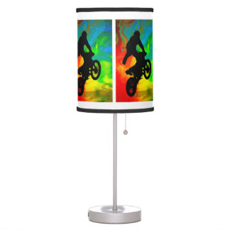 Motocross in a Solar Meltdown ANY COLOR BACKGROUND Table Lamp