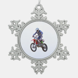 Motocross Jump Snowflake Pewter Christmas Ornament