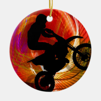 Motocross Light Streaks in a Windtunnel Ceramic Ornament