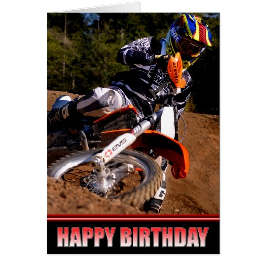 Motocross Racer birthday card
