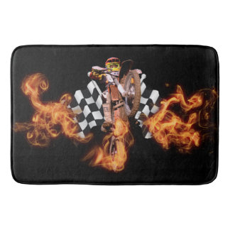 Motocross rider and checkered flags on fire bath mat