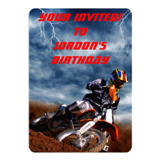 Motocross rider races through a lightning storm. card