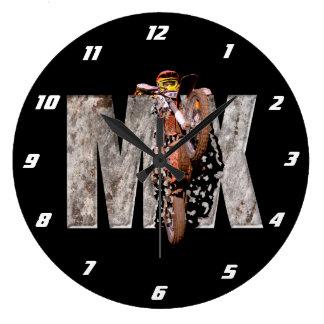 Motocross rider shattering the rock mx large clock