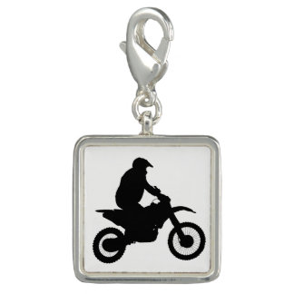 Motocross Silhouette Photo Charm