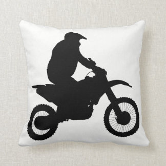 Motocross Silhouette Throw Pillow