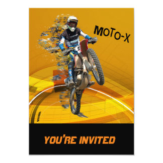 Motocross Wheelie in Pieces Abstract Desert Text Card