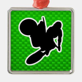 Motocross Whip Silver-Colored Square Ornament