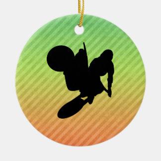 Motocross Whip Round Ceramic Ornament
