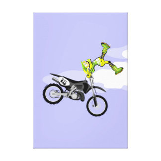 Motocross young of the green equipment shows their canvas print