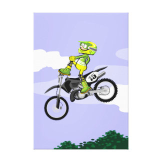 Motocross young showing its acrobatics with style canvas print