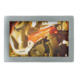 Motor Bike in Evening Sun Rectangular Belt Buckles