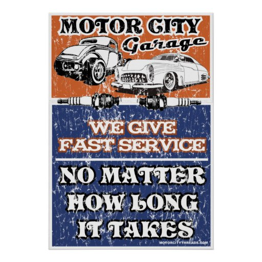 Motor city garage 2 print zazzle for Garage prints