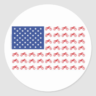Motor-Cycle-Flag-Moto-Cross Classic Round Sticker