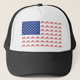 Motor-Cycle-Flag-Moto-Cross Trucker Hat