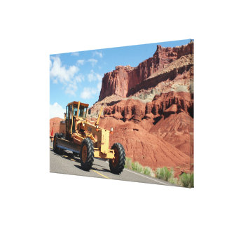 Motor grader machinery, Capitol Reef, Utah Canvas Print