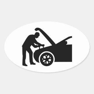 Motor mechanic oval sticker