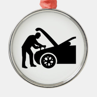 Motor mechanic Silver-Colored round ornament