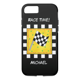 Motor Race Time Black White Chequered Flag Name Case-Mate iPhone Case