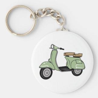 Motor Scooter Basic Round Button Keychain