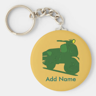 Motor Scooter Key, NAME Basic Round Button Keychain