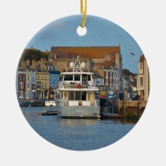 Motor Yacht In Weymouth Ceramic Ornament