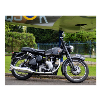 Motorbike And Spitfire Postcard