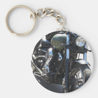 Motorbike in the parking lot . Outdoors lifestyle Basic Round Button Keychain