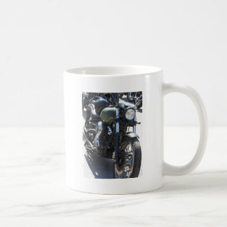 Motorbike in the parking lot . Outdoors lifestyle Coffee Mug