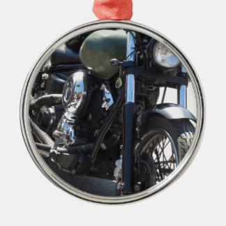 Motorbike in the parking lot . Outdoors lifestyle Metal Ornament