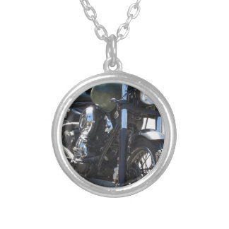 Motorbike in the parking lot . Outdoors lifestyle Silver Plated Necklace