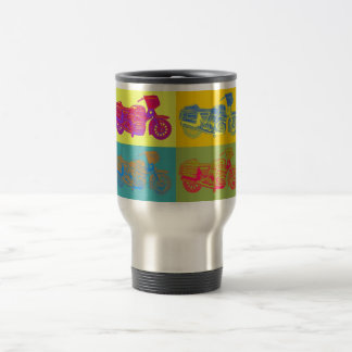Motorbike / Motorcycle, Multi Colored Pop Art Travel Mug