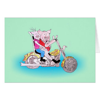 Motorbike Pigs Greeting Card