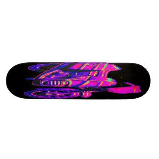 Motorbike, Pink on Black Back Skate Board
