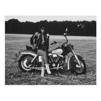 Motorbike Pinup Girl Postcard